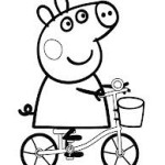 Peppa's riding a bike