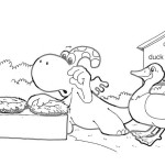 Coloring page: Gogo, chicken and duck.