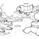 Coloring page: Gogo, crocodile and parrot