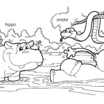 Coloring page: Gogo, hippo and snake.