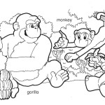 Gogo, monkey and gorilla coloring page.