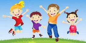 Дети прыгают, делают зарядку.
