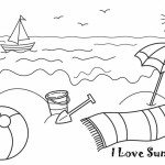 Summer coloring page. Beach.