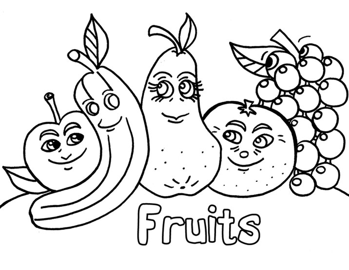 Раскраска фрукты на английском языке