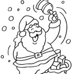 christmas coloring page card. santa ringing the bell.