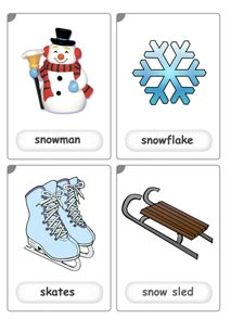winter flashcards for kids