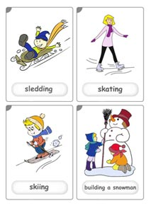 Winter sports flashcards for kids