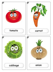 Vegetables flashcards for kids