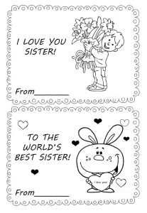 I love you sister. Coloring greeting card.