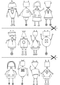 Roboti. Raskrasla na urok angliiskogo. Chasti lica i tela
