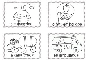 Submarine, hot air balloon, tank truck, ambulance coloring pages