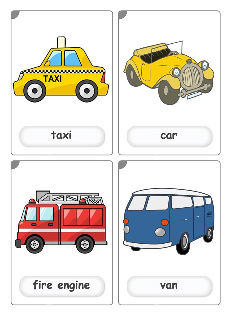 transport flashcards for english lessons