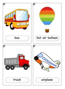 Means of transports flashcards for kindergarten