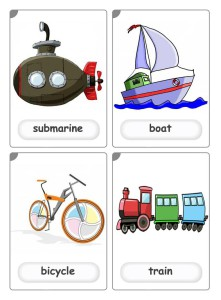 submarine, boat, bicycle, train flashcards