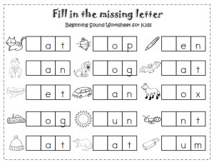 Fill-in-the-missing-letter worksheet
