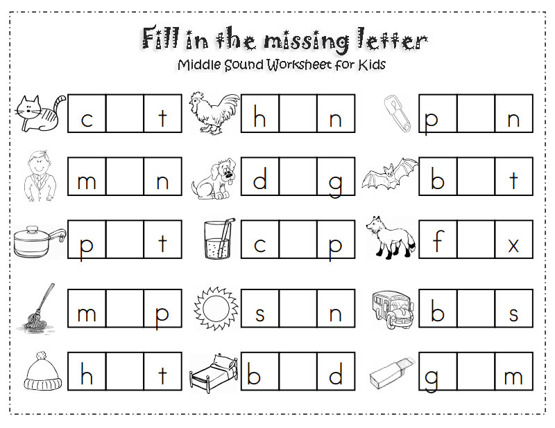 Fill-in-the-missing-letter worksheet for kids