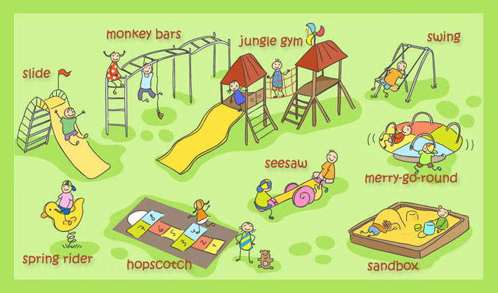 In the playground. Vocabulary for kids.