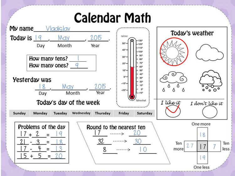 KEnglishru – Calendar Math Worksheets