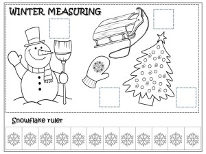 snowflakes measuring coloring page