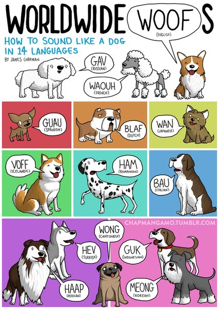 how dogs sound in different languages
